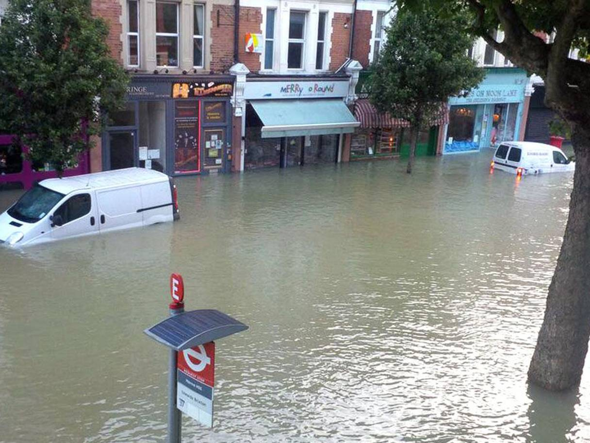 Burst water main in London